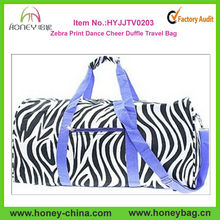 Purple Trim Black White Zebra Print Dance Cheer Sports Duffle Bag Luggage Travel Tote