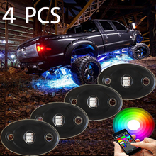Wholesale 4/6/8/12xPods Mini Bluetooth RGB Led rigid Rock Lights Multicolor For Underbody ATV JEEP SUV 4x4Offroad-DC12V IP68