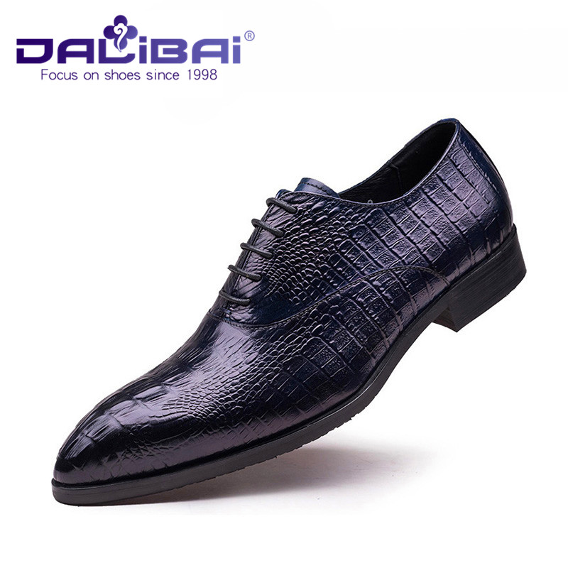 Black Genuine Leather Shoes with Crocodile Patten