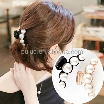 New fashion elegant hairpin pearl crystal claw hair clip Horsetail clip hair accessories for wonwen/50 pcs