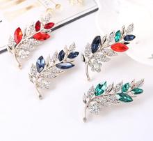 Wholesale Crystal Brooch Pin Rhinestone Brooch Hijab Scarf Magnetic Leaf Brooch
