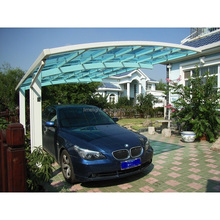 heavy snow and strong wind load aluminium alloy frame carport with super quality polycarbonate glaszing sheet in Europe country