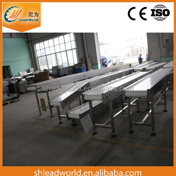 6M Stainless Steel 304 Frame PU Belt Conveyor for food factory with Emergency button and Senors