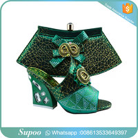 Latest top matching shoes and bag quality various world brand dress shoes women italian shoes and bag set