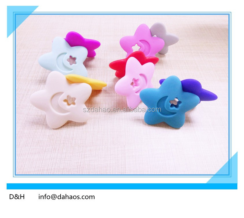 Hot sell BPA free baby silicone star shape teething toys, soft silicon teething beads, star shape silicone teether