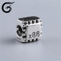 Guolong Square Alphabet Letter Jewelry Beads With Black Letter