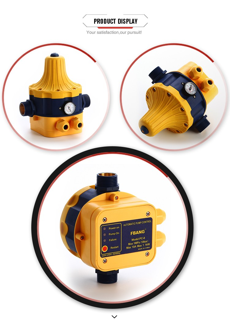 Automatic adjusting electronic water pressure control switch