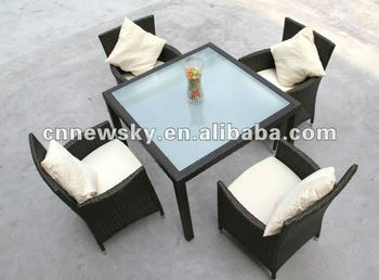 alu frame poly rattan outdoor dining set 5pieces
