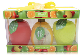 Fruit shaped beauty personal care refreshing shower gel in PVC window box