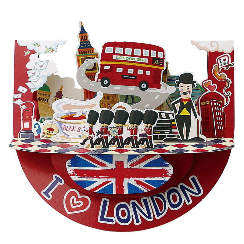 London Style 3D Greeting Card Christmas Paper Crafts