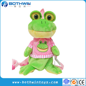 Stuffed Animal Big Eyed Green Frog Plush Backpack With Leash