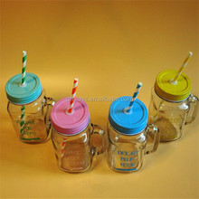450ml Colorful Beverage Glass Mason Jars With Handle