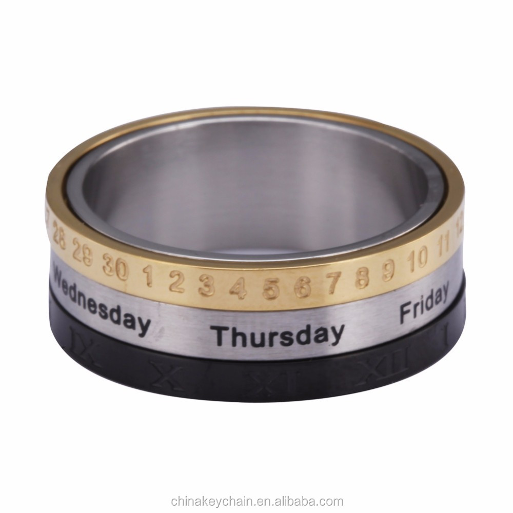 Hot selling men metal stainless steel <strong>ring</strong> high quality spinner calendar week date <strong>ring</strong> for men