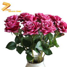 Hot Sale Plastice Wedding Silk Fake Artificial Rose Flowers For Home Decoration Pot Favric