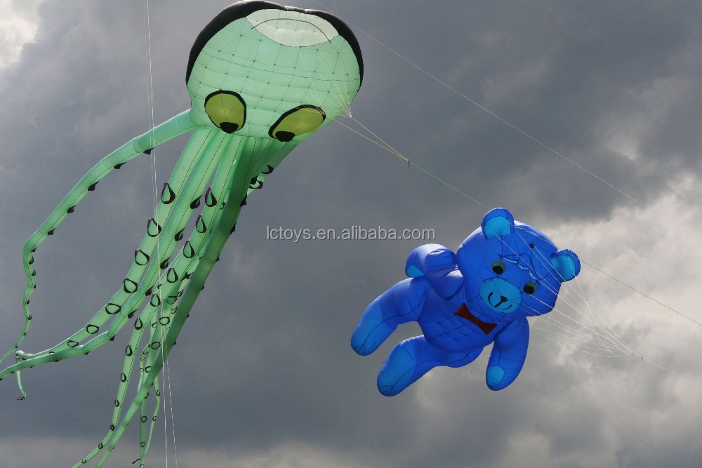 large custom made inflatable green sleeve-fish kite for sale