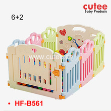 8 Panels Colorful Safety Plastic Baby Playpen With Gate