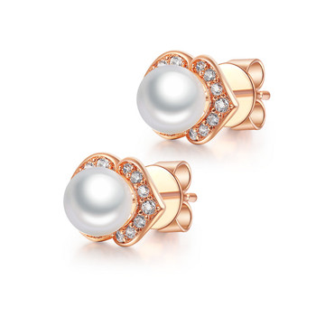 Wholesale Pearl Jewelry Rose Gold Plated Crystal Fashion Women Hoop Earrings