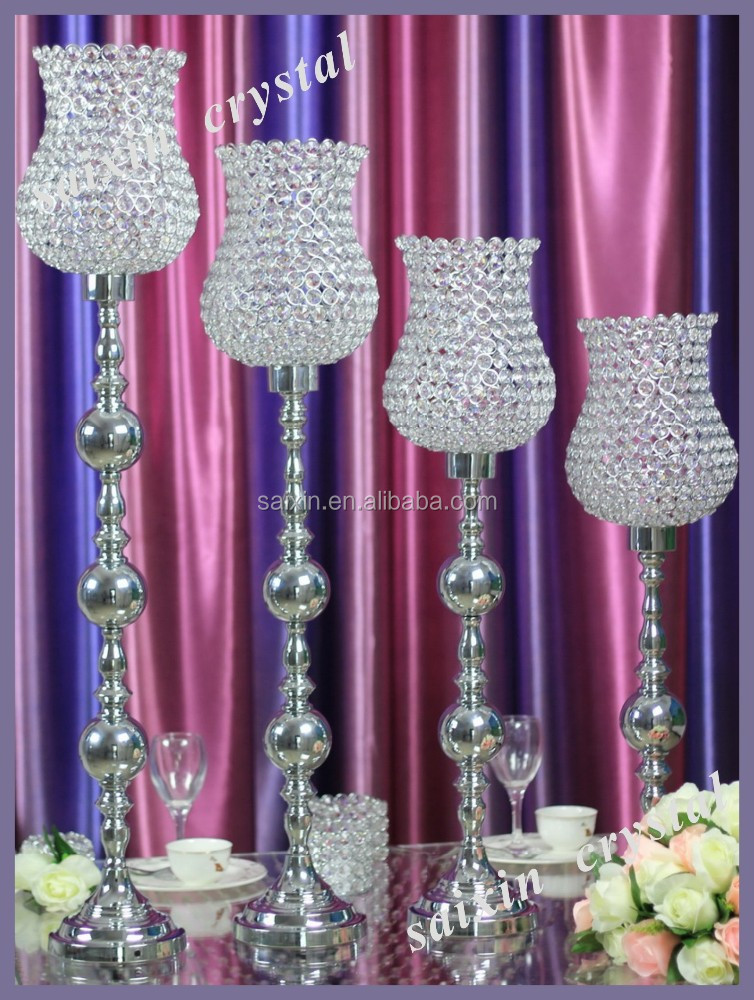 Silver metal candle stand for wedding table centerpieces