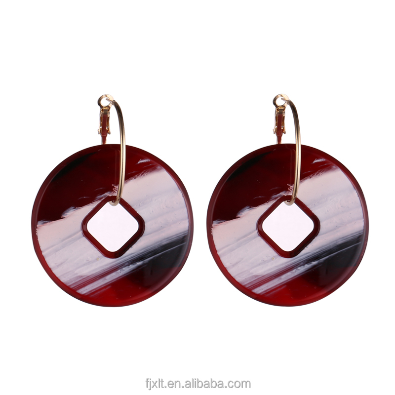 Fashion Round Shape High Quality Acrylic Stone Earring Jewelry
