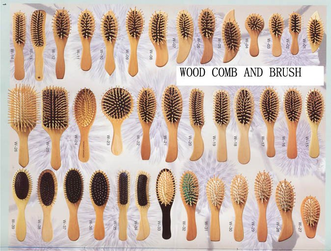 Wood Comb And Hairbrush