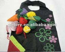 recycled RPET foldable shopping bag fruit shape folding reusable bags into pouch