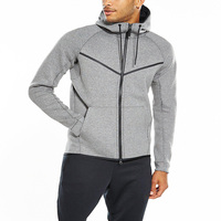 2017 Mens Quality Plain Tech Fleece Zip Up Fitness Hoodies