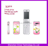 pink flip cell phones B2014 Metal cover flip mobile phone