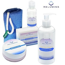 RELUMINS ADVANCE WHITE FACE & BODY SET-TA STEM CELL DAY CREAM, INTENSIVE REPAIR TONER, SOAP, LEAFA SOAP NET, ALL IN ONE LOTION