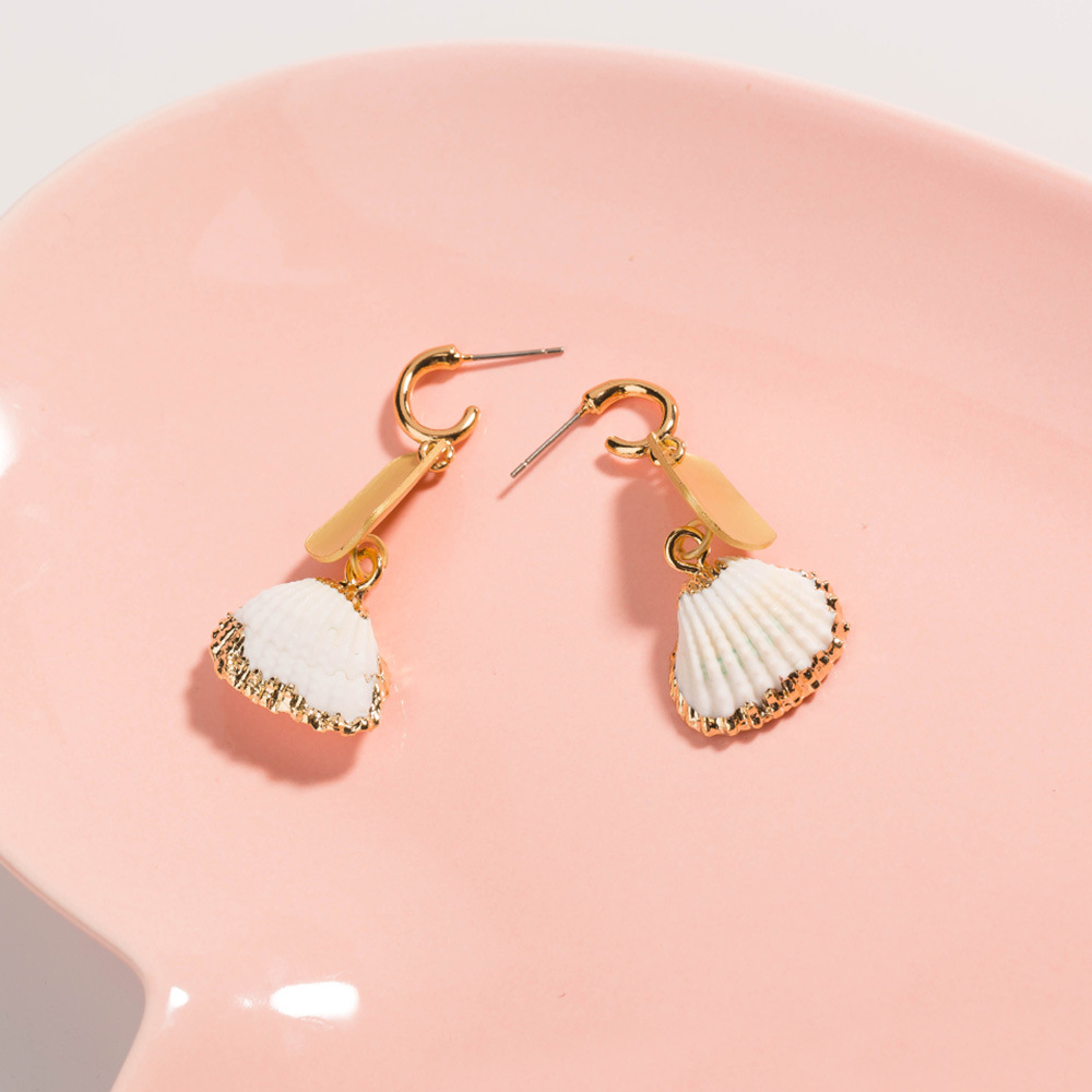 2019 summer fashion shell jewelry natural gold plated shell earrings