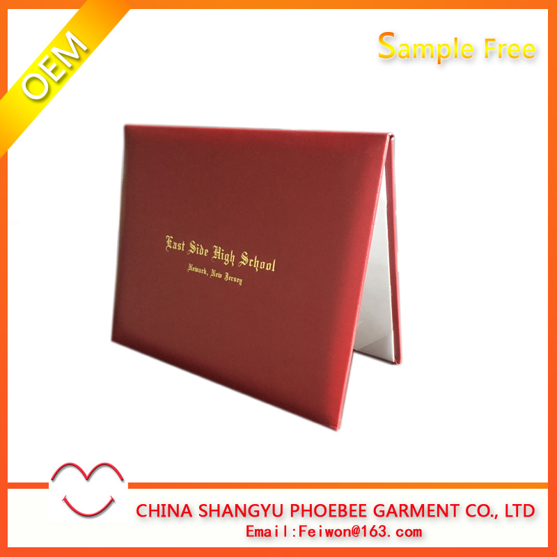 China facotry wholesale handmade red diploma cover or certificate holder