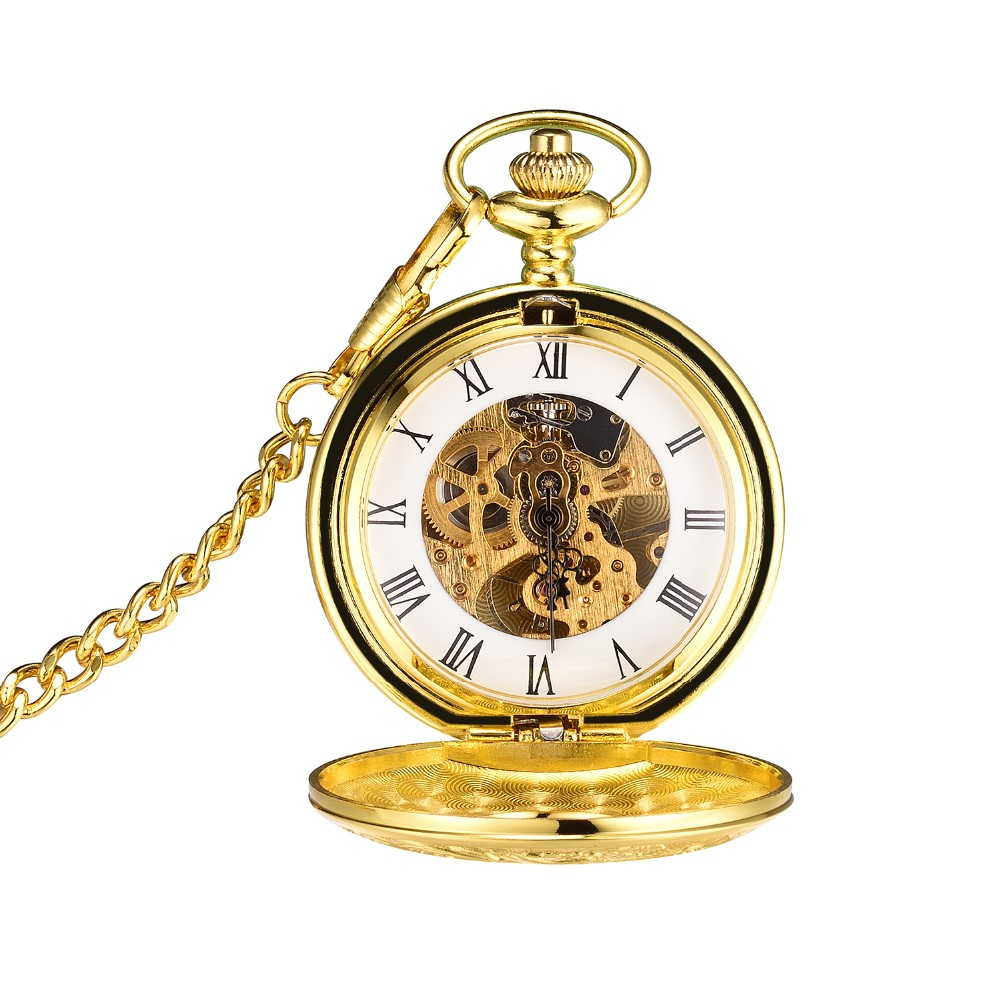 2017 vintage copper novelty Mechanical pocket automatic watch Fob Chain
