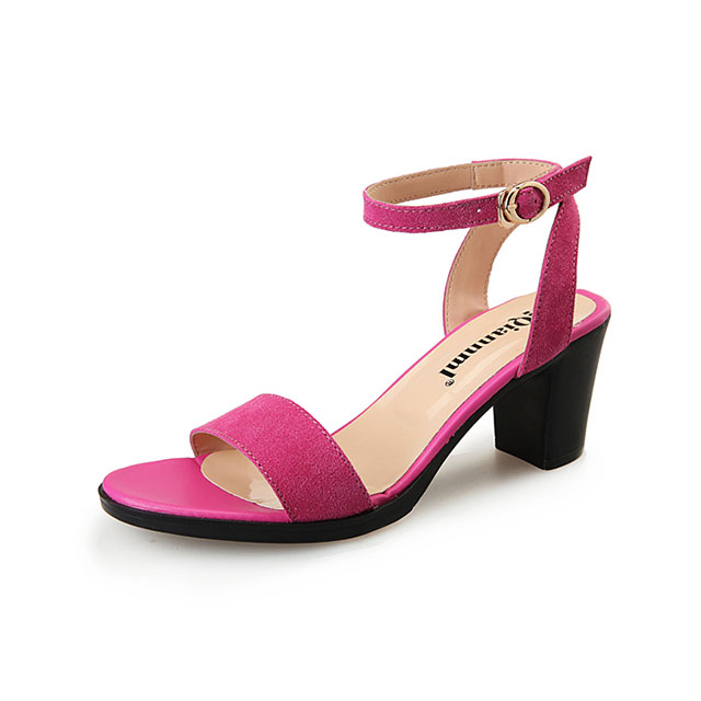 Summer Lady High Heel Sandal Genuine Leather Peep Toe Chunky Women Shoes Sexy Small Size Women Sandal Wholesale
