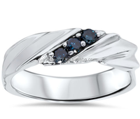925 Silver Blue Diamond Mens Three Stone Wedding Anniversary Ring