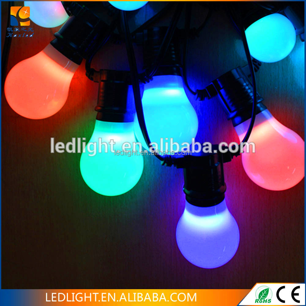 white rubber cable IP67 outdoor use LED Belt string festoon light E27 with G45 lamps for holiday Christmas decoration