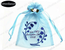 Easter Silk Embroidered Drawstring Organza Bag/Pouch