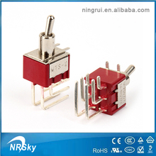 Mini PCB mounted angle pin DPDT 6 pin toggle switch