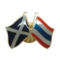 Promotional, custom, unique metal Scotland & Thailand flag badge