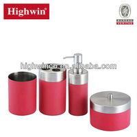 Highwin Pink coated stainless steel bathroom accessory set