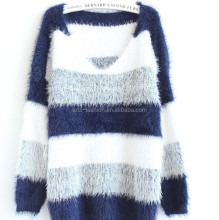 sales wholesale striped wool mohair knit ladies winter long sweater