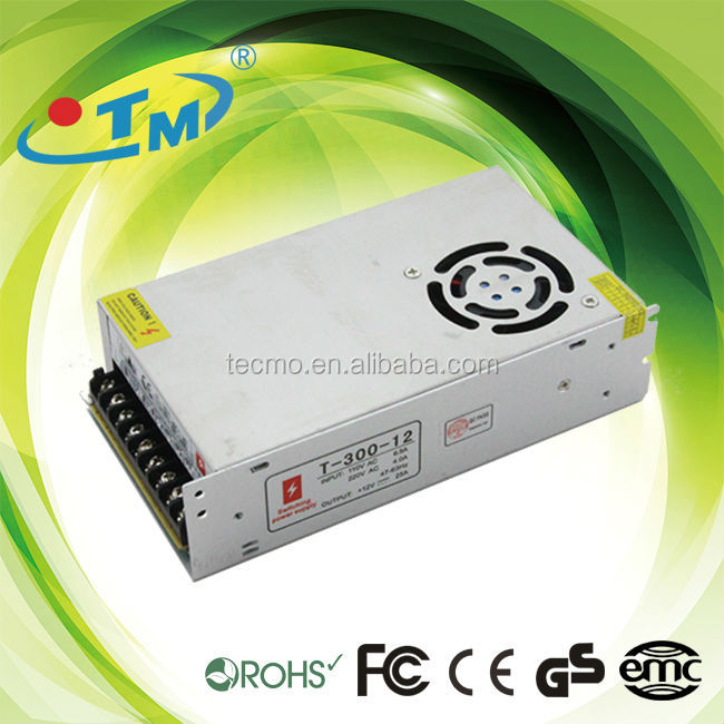 LED power supply with fan 300w 12v electric recliner power supply AC90-250V in with CE and FCC certificaiton