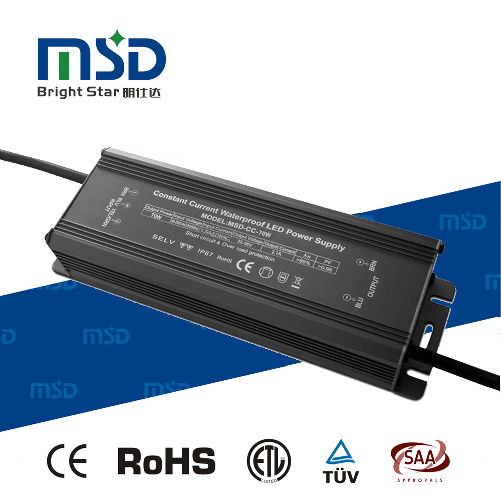 High PF Low Ripple Noise Free Waterproof IP67 Constant Current LED Power Supply 70W 2400mA LED Driver with CE RoHS