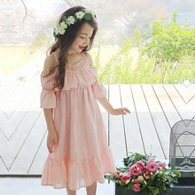 New model japan sexy girl free prom dress children cotton-linen dress for kids
