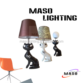 Maso Decoration Resin Animal Table Lamp 3w LED E27 Bulb Black Color Cat lamp Stand