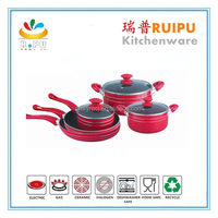 Good quality pink color kitchenware set with glass lid kitchen tool 8pcs utensil cookware set