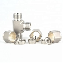 316 Stainless Steel 3/4 Double Ferrule T Connector Union Tee Fittings