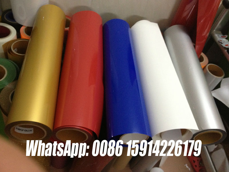 PVC PU GILLITTER FLOCK heat transfer film for plastic pail yellow reflective heat transfer film pet transfer film