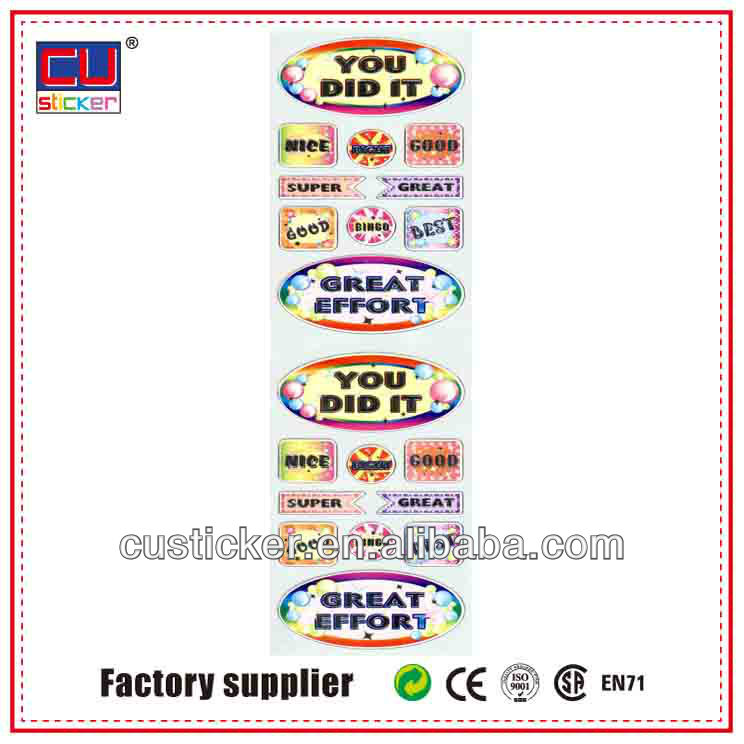 Factory sales customized slogan label sticker