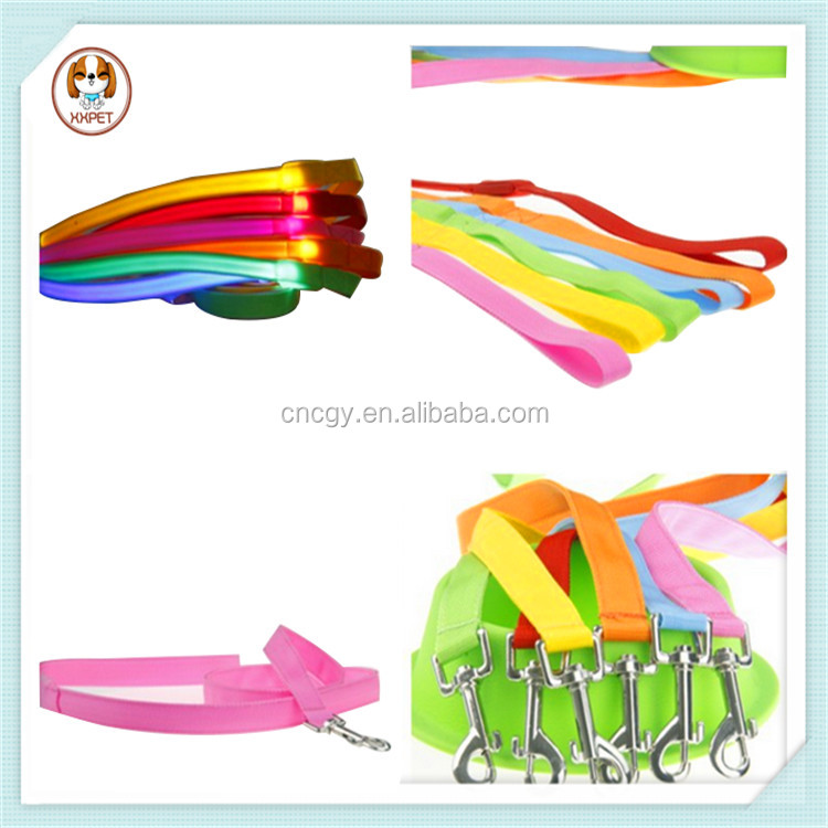 Wholesale dog leash lead pet collar flashing LED nylon dog leashes