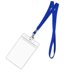 Clear Plastic Vertical Name Tags Badge ID Card Holders and Blue Neck Lanyards with Swivel Hook For School, Festival, Event