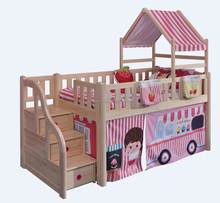 Pine Wood Material Kids Car Design Bunk Bed